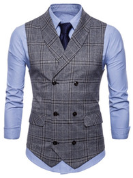 waistcoats v neck for suit Coupons - 2018 Men V-Neck Double Breasted Flap Pockets Plaid Waistcoat Male Business Waistcoat Vests For Men Slim Fit Men's Suit Vest