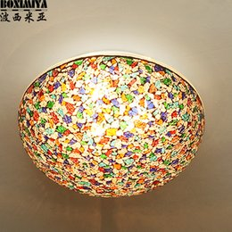 Wholesale mosaic glass lamps - turkish mosaic Bohemia Mediterranean ceiling light bedroom stained glass living room porch lamp