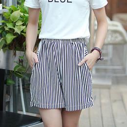 Вертикальные белые полосы онлайн-Black White Stripes Shorts For Women Casual Elastic Waist Vertical Striped Loose Shorts Female High Waist Summer