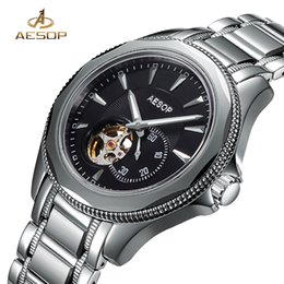Мужские наручные часы из вольфрамовой стали онлайн-AESOP  Fashion Waterproof Watch Men Automatic Mechanical Wristwatch Hollow Tungsten Steel Male Clock Relogio Masculino 46