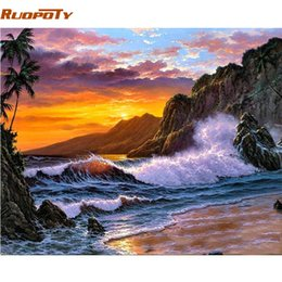 pintura acrílica paisajes marinos Rebajas RUOPOTY marco marino pintura bricolaje por números pintura acrílica sobre lienzo pintura moderna caligrafía para el hogar arte de la pared imagen arte