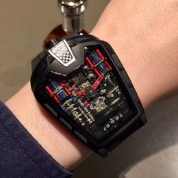 Wholesale Movement Japan - Luxury Brand Mens Watch Top Tricolor Ferrari Series Six Cylinder Engine Imported Full Automatic Japan Movement Limited Edition HB Men Watch