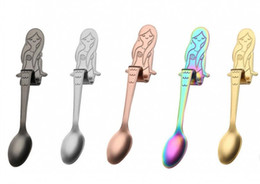 Wholesale Spoon For Coffee - New 5 Colors Mermaid Teaspoons Stainless steel Creative Tea Coffee Spoon for Cafe wedding Hanging Spoon free shiping