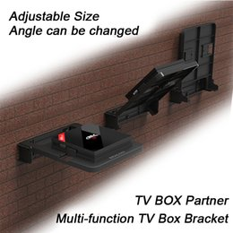 Wholesale Black Wall Boxes - Holder for Android TV Box Wall Mount Set Top Boxes Bracket 90 Degree Adjust Stand Mounts Digital DVD Mount for Router all kinds media player