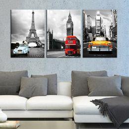 paesaggistica new york Sconti Canvas Painting Wall Art Quadro HD Stampa 3 pezzi Torre di Parigi New York City Car Landscape Immagini Big Ben Poster Home Decor