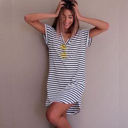 8a3278f6fc Women Fashion Short Sleeve Striped Loose Dress Roupa feminina T shirt  striped everyday dresses Summer Autumn Vestido de verao