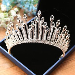 Wholesale red rhinestone barrettes - Super Shiny Bling Bling Crystal Beading Wedding Bridal Crown Tiaras Hair Accessories Elegant Princess Headwear Jewelry 2018 New High Quality