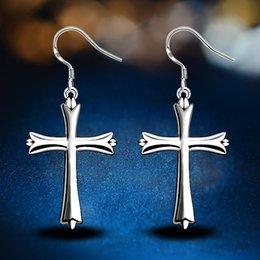 Wholesale Mens Earrings Wholesale - Fashion Style 925 sterling Silver plated Smooth Cross Earrings for women &mens Wholesale