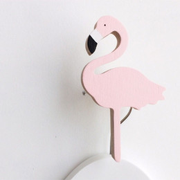 Wholesale Wholesale Hangers For Children - Cute pink Flamingo wooden clothes hook for kids room wall decorate children room ECO hanger hook