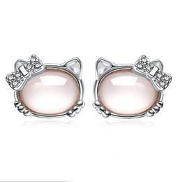 Wholesale Earrings Kitty Cat - 2018 new Fashion silver plated pink Opal lovely hello kitty cat stud earrings for women jewelry