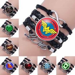 Wholesale dropship charms - Fashion Bracelet Infinity Superhero Hulk Batman Superman Wonder Woman Captain America Spiderman Iron Man Glass Cabochon Bracelets Dropship