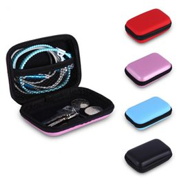 Wholesale office card stock - New 12x8x4cm EVA 7 Colors Hard Case Earphone Earbuds Storage Carrying Pouch Bags SD Card Hold Box