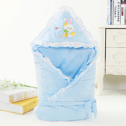 Wholesale Crystal Weather - 2018 Newest Infant Baby Sleeping Bag Cartoon Cat Embroidery Envelope For Newborn Swaddle Wrap Baby Crystal Velvet Blanket Sleepsacks