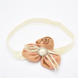2019 fibbie a nastro perla 8pcs fascia per capelli fiore nastro fiocco Jin Bianhua rose Chiffon rotto Perla perla fibbia diamante HD014 fibbie a nastro perla economici