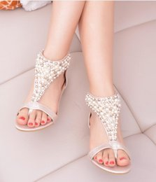 Wholesale Beaded Flat Dress Shoes - 2018 summer New Women shoes han edition student rhinestone beaded sandals women sweet pearl flat princess Roman shoes