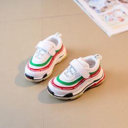 Wholesale Li Ning Sneakers - 2018 toddler sneakers air net breathable toddler walking shoe stripe colorful fashion designer baby footwear spring summer shoes