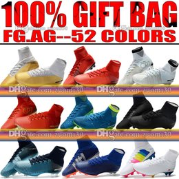 Wholesale White Men Ankle Shoes - Original New Mercurial Superfly V FG AG CR7 Ronaldo Soccer Cleats High Ankle Neymar JR Soccer Shoes Magista Obra Hypervenom Football Boots