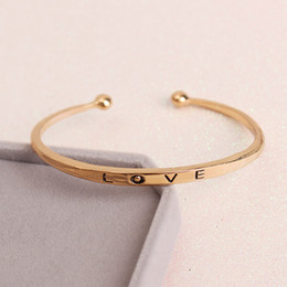 Wholesale Bracelets For America - 3 Colors Gold Love Bracelet Simple Europe America Style Zinc Alloy Bracelets For Women Bangles Jewelry Christmas Gifts