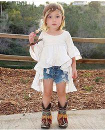 Vestido de cola de milano de las muchachas online-Niñas Vestido Niñas Pantalones Cortos Marca de Diseñador Niños Niño Niños Bebés Trajes de Verano Ropa Dovetail Vestido + Pantalones Cortos de Mezclilla 2 UNIDS