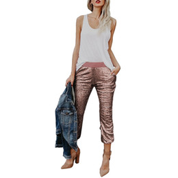 Wholesale gold sequin trousers - New Women's Sexy Pants Joggers Capris Trousers Pencil Long Pants Solid Sequin Drawstring Medium Waist Cool Rose gold Fashion