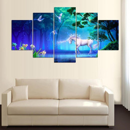 Wholesale framed horse painting - Fantasy Cartoon Poster Frame Pegasus Unicorn Horse Moon Magic for Kid Room Decor 5 pcs Canvas Painting Wall Art Picture