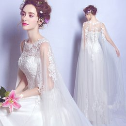 Wholesale Real Fairy Photos - Real Photo Wedding Dresses Cheap 2018 New Wedding Gowns With Wrap Lace Appliques Fairy Elegant Bridal Gowns