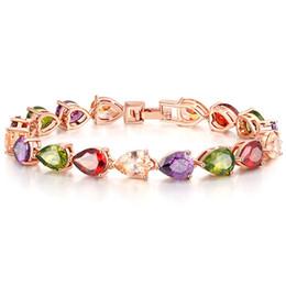 Mode Teardrop Multicolore Prong Cubique Zircone Rose Plaqué Or Fermoir Bracelet Bracelet Femmes Fiançailles Cadeau Bijoux ? partir de fabricateur