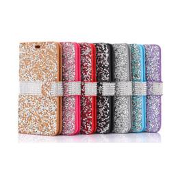 Canada 2018 pour iPhone 8 Galaxy ON5 portefeuille étui à diamant cas iPhone 6 LG K7 Stylo Bling Bling étui cristal PU cuir carte Slot sac d'opp Offre
