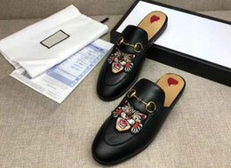 Wholesale Black Red Sole Heels - AAAAA Quality Women Princetown Leather Slipper Embroidered Applique,Horsebit Detail,Leather Sole,Size 35-40,Free Shipping