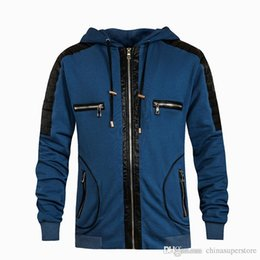 Wholesale leather long coats for men - 2018 new arrival famous luxury cool brand skull head jewelry leather big shark hoodies and sweatshirt slim fit for men Coat Cotton Jacket