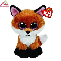 547413de1cd sermoido TY 6   Beanie Boos Slick Brown Fox Plush Beanie Baby Plush Stuffed  Doll Toy Soft Toys Big Eyes Toys DBP101