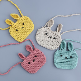 Wholesale Knitted Baby Sweater For Girl - Cute rabbit Bags Girls Accessories Purse Wallet bags Sweater Knit Cartoon Ears Bunny Crossbody Bags Message bag For baby Girl A8312