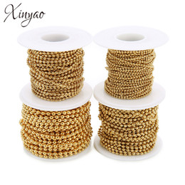 wholesale steel balls 3mm Promo Codes - Xinyao 10Yard Roll 1.5mm 2mm 2.4mm 3mm Stainless Steel Ball Beads Chain Necklace Gold Color Bulk Chain Diy Jewelry Making F7355