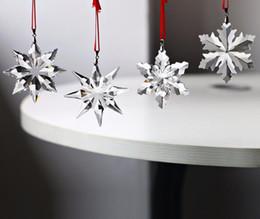 Wholesale quality car parts - Top Quality 4pcs Christmas Snowflake Hanging Glass Pendants Crystal Suncatcher Prism Chandelier Parts Ornament Party Decor