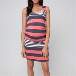 Robes de maternité de nouvelles femmes 2018 mode d'allaitement robe d'allaitement enceinte lâche robe d'été sans manches pour les femmes enceintes ? partir de fabricateur