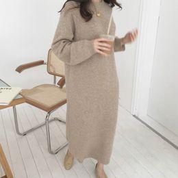 e5d8a019f49 Femmes Automne Hiver À Manches Longues Chandail Robe Dress Femme Pull  Droite Tricoté Solide Vêtements Coréens Plus La Taille Robe Femme