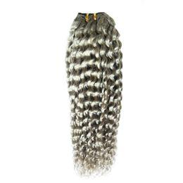 """permanentes extensions de cheveux humains Promotion Extensions de cheveux bouclés brésiliens """"10-26"""" pouces 100% Bundles d'armure de cheveux humains 1 PCS Couleur Extensions de cheveux gris Non Remy"""