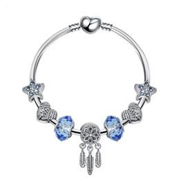 2019 bijoux en diamant bleu 925 argent cristal diamants bleu femme bracelet correspond à bijoux pandora européenne charme bracelets livraison gratuite bijoux en diamant bleu pas cher