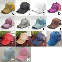 Wholesale Pink Pony Tail - 14 Colors Women Hat Ponytail Baseball Hat Girl Softball Hats Back Hole Pony Tail Glitter Mesh Girls Sunshine Cap Hat Breathable Snapbacks
