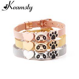 Panda charme armbänder online-Keamsty 1 STÜCKE Cute Panda Charms Armbänder 8mm Edelstahl Mesh Keeper für Kinder Frauen Slide Charm Armband Silber Gold