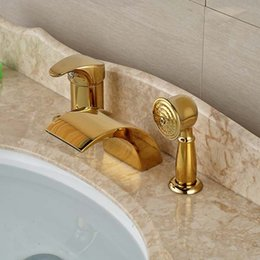 Wholesale deck mounted tub - Widespread Golden Brass Waterfall Bathroom Tub Faucet 3 pcs Mixer Tap Shower