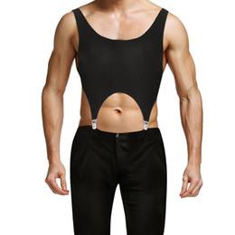2018 New Black Hommes Sans Manches Top Hommes Pull Muscle Bas Dos Sport Gilet Corset Débardeurs avec Jarretelles Clips Métalliques Clubwear ? partir de fabricateur