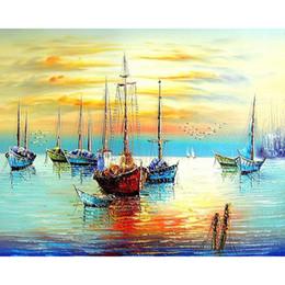 Moderna pittura a olio di tramonto online-Dipinto a mano Frameless Sunset Boat Diy By Numbers Seascape Modern Wall Art dipinto a mano pittura a olio su tela per soggiorno Decor