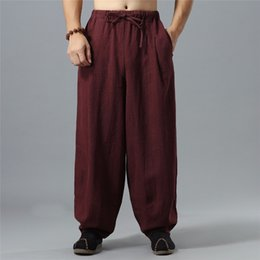 Wholesale Flax Pants Xl - LZJN Kung Fu Pants Flax Long Trousers Elastic Waist with Drawstring Linen Bloomers Traditional Chinese Mens Trousers MF-64
