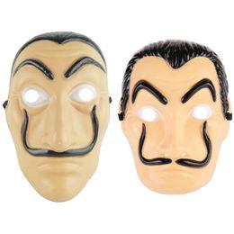 Maschere piene di fronte online-Money Heist The House of Paper La Casa De Papel Dali Maschera per uomo Halloween Carnevale Donne Salvador Dali Maschere per il viso