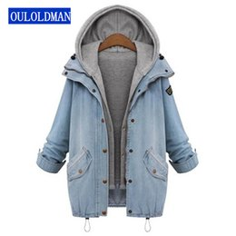 Wholesale Hooded Drawstring Jacket - Women Hooded Jacket Coat Jeans Denim Winter Drawstring Trends Patch Pocket 2 Piece Outerwear Long Sleeve Buttons Hoodie Jaqueta