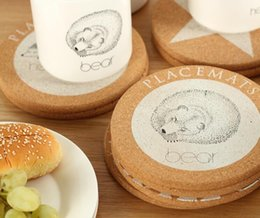 Wholesale Touch Wood - Visual Touch Cute Animal Cork Drink Coaster Retro Style Coffee Cup Mat Tea Pad 4 Styles Animal Kitchen Decoration