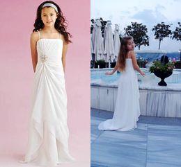 Canada Blanc ou en mousseline de soie ivoire personnalisé mignonne petite robe de fille de fleur étage longueur fait à la main des fleurs spaghetti sangle enfants robe d'anniversaire de bal cheap kid dresses for prom white Offre