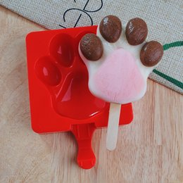 Wholesale rubber paws - 9 Styles Cherry Paw Shaped Food Grade Silicone Ice Cube Molds Mini Popsicle DIY Ice Cream Maker