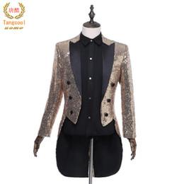 Wholesale men s prom dresses - Tang cool 2018 Men Teams Chorus Tails Blazer Tuxedo Host Magician Prom stage show Suit jackets Wedding full dress